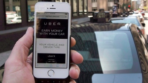 The ride-sharing app Uber is shown on a smartphone in Montreal, Thursday, May 14, 2015. (Ryan Remiorz / THE CANADIAN PRESS)