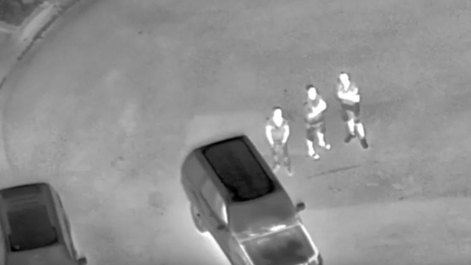 A still image from video shows three suspects in a laser pointing investigation in Vaughan, recorded Sunday, Aug. 16, 2015. (YouTube / York Regional Police)