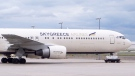 SkyGreece Airlines' Boeing 767 is seen parked at Toronto's Pearson Airport on Wednesday, Aug. 26. (Tom Podolec / CTV Toronto)