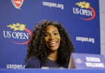 U.S. Open Tennis defending women's champion Serena Williams speaks during a press conference at the USTA Billie Jean King National Tennis Center in New York, Thursday, Aug. 27, 2015. (Kathy Willens/AP Photo)
