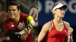 Milos Raonic and Eugenie Bouchard are shown in this composite photo. (THE CANADIAN PRESS)