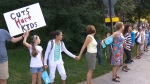 Human chain around school in Montreal