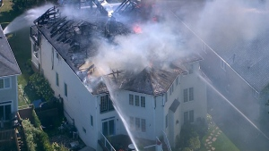 This photo was taken from the CTV News Chopper after a fire broke out in Brooklin, Ont. on Sept. 4.