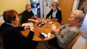 Seniors play cards in Verona, N.J., on Friday Nov. 11, 2011. (AP Photo/Rich Schultz)