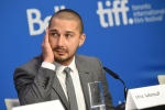 """Shia LaBeouf appears at a press conference for """"Man Down"""" on day 6 of the Toronto International Film Festival at the TIFF Bell Lightbox on Tuesday, Sept. 15, 2015, in Toronto. (Photo by Evan Agostini/Invision/AP)"""