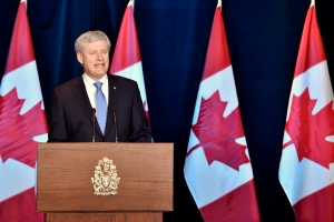Prime Minister Stephen Harper speaks about the Trans-Pacific Partnership trade deal at a press conference in Ottawa on Monday, October 5, 2015. THE CANADIAN PRESS/Nathan Denette