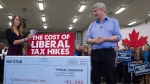 Conservative Leader Stephen Harper looks on as Nicole Ropp throws money on the counter as they illustrate how Liberal tax hikes will affect Canadians during a Conservative campaign event at an apple farm in Waterloo, Ont., Monday, Oct. 12, 2015. (Jonathan Hayward / THE CANADIAN PRESS)