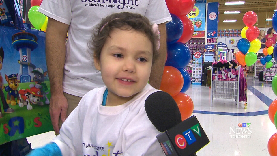 Mia Taylor speaks to CTV Toronto after picking out toys on Tuesday, Nov. 3, 2015.