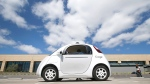 In this May 13, 2015, file photo, Google's new self-driving prototype car is presented during a demonstration at the Google campus in Mountain View, Calif. (AP / Tony Avelar, File)