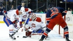 Montreal Canadiens goalie Carey Price blocks a shot by New York Rangers right wing Kevin Hayes as Canadiens defenceman Andrei Markov looks for a rebound during the second period of an NHL hockey game, Wednesday, Nov. 25, 2015, in New York. (AP / Julie Jacobson)