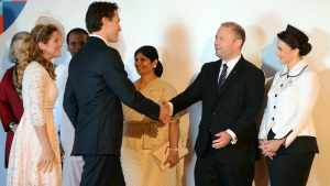Canadian Prime Minister Justin Trudeau is welcomed by Maltese Prime Minister Joseph Muscat as he arrives for the CHOGM, (Commonwealth heads of Government meeting) in Valletta, Malta, Friday, Nov. 27, 2015. The summit is expected to deal with climate change, the threat of extremist violence and other issues. (AP Photo/Rene Rossignaud)