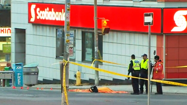 A pedestrian has died after being struck by a vehicle at the intersection of Bathurst Street and Eglinton Avenue.