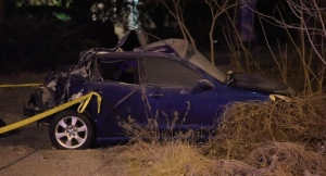 A vehicle that was involved in a serious collision near Embleton Road and Mississauga Road in Brampton is shown.