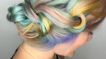Knotted pastel rainbow braid is pictured in this Instagram photo. (Photo from shelleygregoryhair Instagram account)