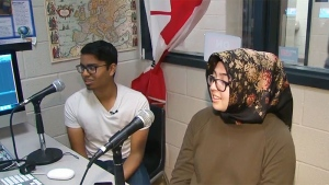 Students record a podcast at Rick Hansen Secondary School.