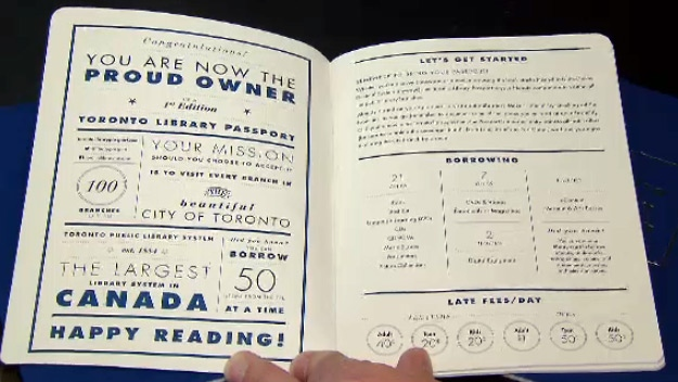 The inside of a Toronto Library Passport is shown.
