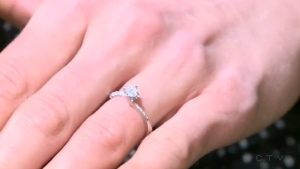 Courtney Halfpenny displays her new engagement ring.