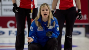 Team North America (Canada) skip Jennifer Jones halts her front end during her draw 4 match against Alina Patz of Switzerland during Continental Cup curling action in Las Vegas on Friday, Jan. 15, 2016. (Michael Burns / THE CANADIAN PRESS)