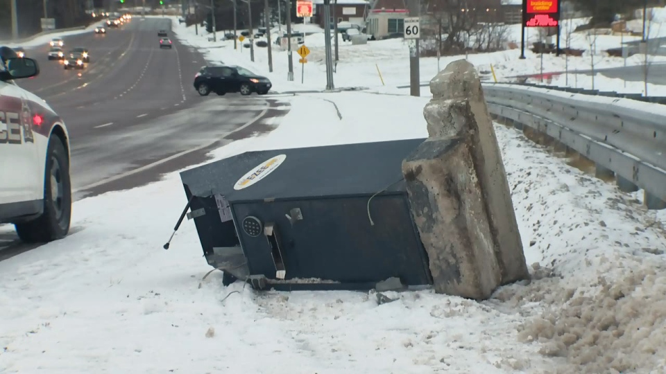 An ATM stolen from The Manor in Guelph ended up at the side of the road on Wellington Street on Wednesday, Jan. 27, 2016.