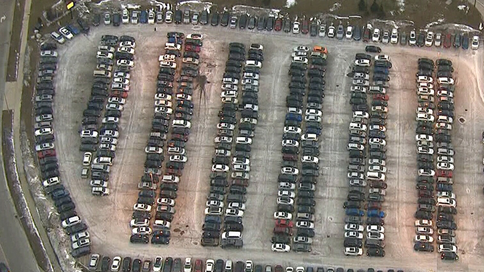 Drivers are having a difficult time finding empty spots at the crowded park-and-ride lot at the Go Rutherford Station in Vaughan, Ont.