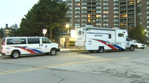 Police are on the hunt for a suspect after a 17-year-old was stabbed to death outside an apartment building at The West Mall and Rathburn Rd., Wednesday, Feb. 3, 2016.