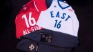The 2015-2016 NBA All-Star Game apparel is unveiled in Toronto on Wednesday, Dec. 2, 2015. (Darren Calabrese / THE CANADIAN PRESS)