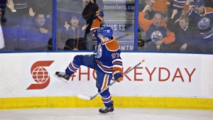 Edmonton Oilers' Connor McDavid celebrates his goal against the Columbus Blue Jackets during second period NHL action in Edmonton on February 2, 2016. (THE CANADIAN PRESS / Jason Franson)
