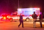 An ambulance leaves the scene after a shootout in the Florida Panhandle early Friday, Feb.5, 2016 in Milton, Florida. (AP/Michael Spooneybarger)