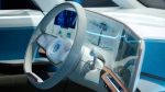 The dashboard of the Volkswagen BUDD-e electric and connected car is on display during a keynote address at CES International, Tuesday, Jan. 5, 2016, in Las Vegas. (AP / John Locher)