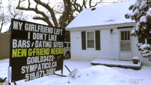 Man rents sign to get help finding dates