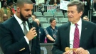 Toronto Mayor John Tory presents Drake with a key to the city during an NBA All-Star event in Toronto, Friday, Feb. 12, 2016.