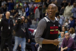 Western Conference's Kobe Bryant, of the Los Angeles Lakers, takes part in a practice session ahead of the NBA All-Star Game in Toronto on February 13, 2016. (Chris Young / The Canadian Press)