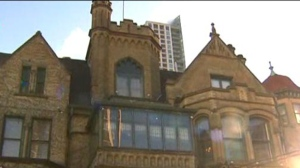 One man is in hospital after a fall at the Keg Mansion on Sunday morning.