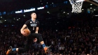 Orlando Magic forward Aaron Gordon slam dunks during the NBA all-starskills competition in Toronto on Saturday, February 13, 2016. (Mark Blinch / THE CANADIAN PRESS)