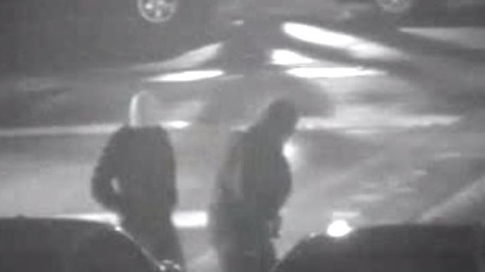 Two suspects are shown in an image captured by a security camera. (Toronto police)