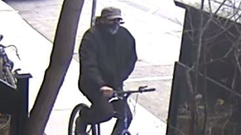A suspect in a street robbery is shown in a security camera image provided by Toronto police.