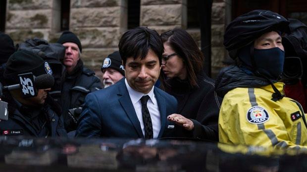 Jian Ghomeshi leaves court in Toronto on Thursday, March 24, 2016. Ghomeshi was acquitted on all charges of sexual assault and choking following a trial that sparked a nationwide debate on how the justice system treats victims. (Christopher Katsarov/The Canadian Press)