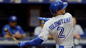 Toronto Blue Jays' Troy Tulowitzki bats against the Tampa Bay Rays during the fifth inning of a baseball game, Sunday, April 3, 2016, in St. Petersburg, Fla. (AP Photo/Chris O'Meara)