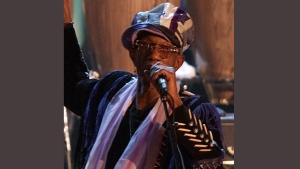 In this March 18, 2002, file photo, Bernie Worrell speaks at the Rock and Roll Hall of Fame in New York. An all-star benefit is planned for funk pioneer Worrell on Monday, April 4, 2016, in New York to raise money for his cancer treatment. (AP / Kathy Willens, File)