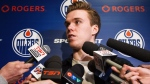 Edmonton Oilers forward Connor McDavid speaks to reporters during the Edmonton Oilers' end-of-the-year press conference in Edmonton, Alta., on Sunday, April 10, 2016. (THE CANADIAN PRESS / Codie McLachlan)