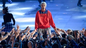 "Justin Bieber performs ""Love Yourself"" and ""Company"" during the iHeartRadio Music Awards at The Forum on Sunday, April 3, 2016, in Inglewood, Calif. (Photo by Chris Pizzellol/Invision/AP)"