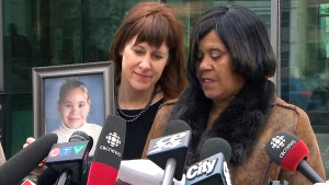 Bernice Sampson, right, speaks about the coroner's inquest into the death of her seven-year-old daughter Katelynn Sampson, in Toronto, Friday, April 29, 2016.