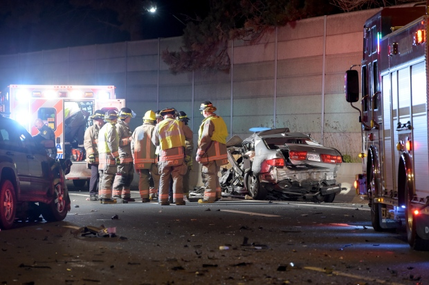 A vehicle that was involved in a serious collision on the QEW near Hurontario Street late Friday night is shown. (Andrew Collins)