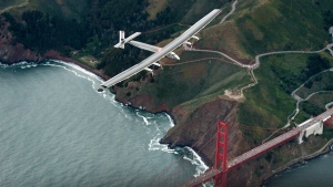 Solar Impulse 2 flies over the Golden Gate Bridge in San Francisco at the end of its journey from Hawaii, part of its attempt to circumnavigate the globe on April 23, 2016. (AP / Noah Berger)