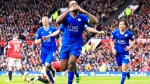 Leicester's Wes Morgan, centre, celebrates after scoring during the English Premier League soccer match between Manchester United and Leicester at Old Trafford Stadium, Manchester, England, Sunday, May 1, 2016 (AP / Jon Super)
