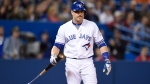 Toronto Blue Jays' Russell Martin looks on during an at-bat in ninth inning American League baseball action against the Texas Rangers in Toronto on Monday, May 2, 2016. (THE CANADIAN PRESS / Frank Gunn)