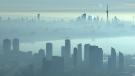 Extended: Toronto skyline seen from chopper (CTV)