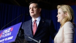 Republican presidential candidate, Sen. Ted Cruz, R-Texas, speaks with his wife, Heidi, by his side during a primary night campaign event, Tuesday, May 3, 2016, in Indianapolis. (AP / Darron Cummings)