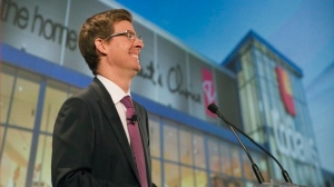 Galen G. Weston, Executive President and Chairman of Loblaw Limited speaks to shareholders at the company's annual general meeting in Toronto, Thursday, May 5, 2016. (THE CANADIAN PRESS/Fred Thornhill)