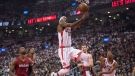 Toronto Raptors' Terrence Ross (31) goes in for a lay up against the Miami Heat during first half Eastern Conference semifinal NBA playoff basketball game in Toronto on Sunday, May 15, 2016. THE CANADIAN PRESS/Frank Gunn